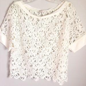 Zara Collection | white crochet lace blouse
